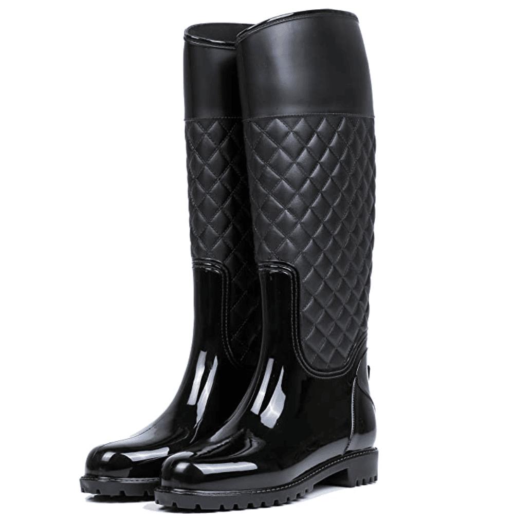 2. AONEGOLD Botas de Agua Mujer Botas de Lluvia Impermeable Altas Bota de Goma Wellington Boots Otoño e Invierno